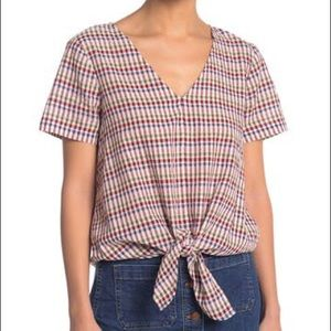 Madewell Multicolor Gingham Blouse Tie Front Top S